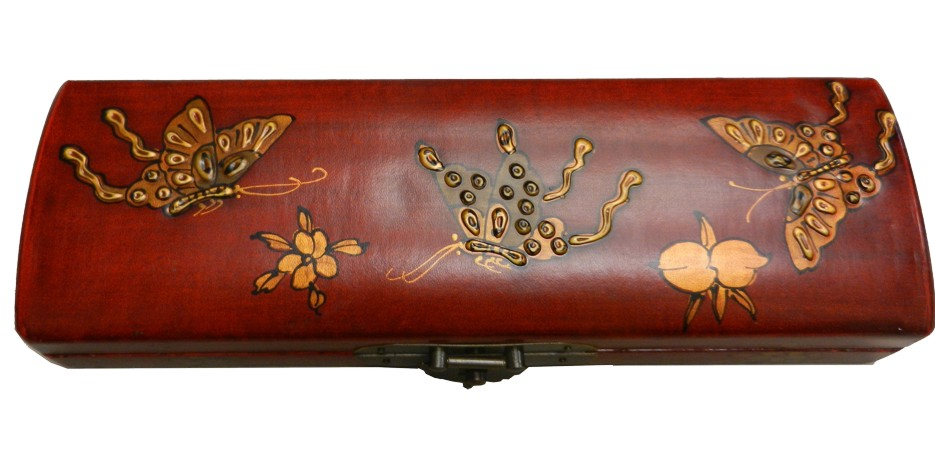 Red Leather Chopstick / Pencil Box - Open View
