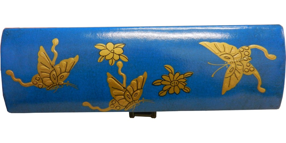 Blue Leather Chopstick / Pencil Box