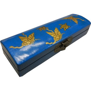 Blue Painted Chopstick / Pencil Box