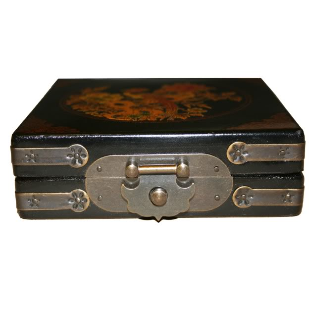Compass in Black Leather Box -Front View