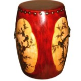 Red Painted Drum Stool