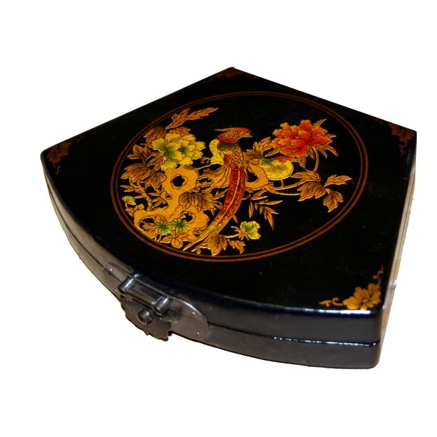 Black Fan Shape Peacock Leather Box