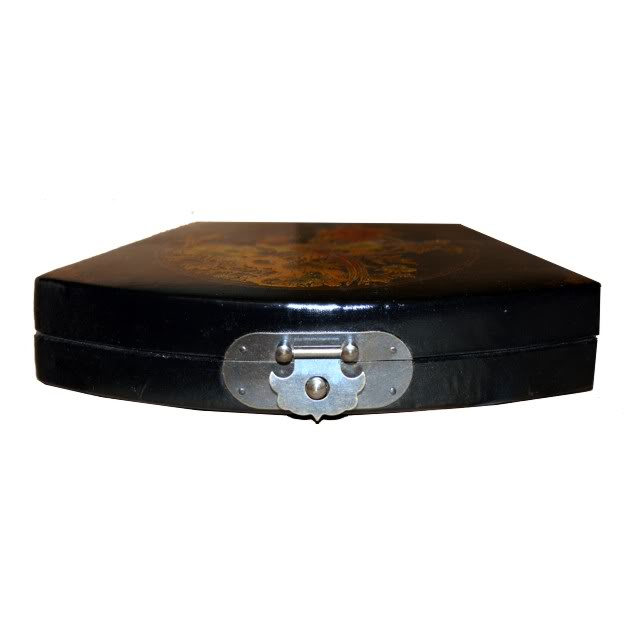 Black Fan Shape Peacock Leather Box - Front View