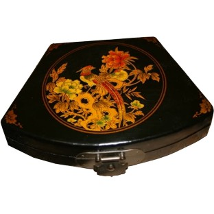 Black Fan Shape Peacock Painted Box