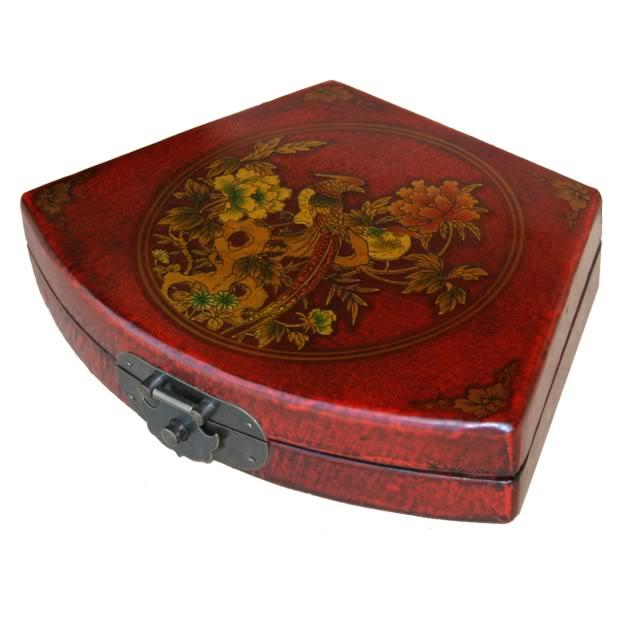 Red Fan Shape Leather Box
