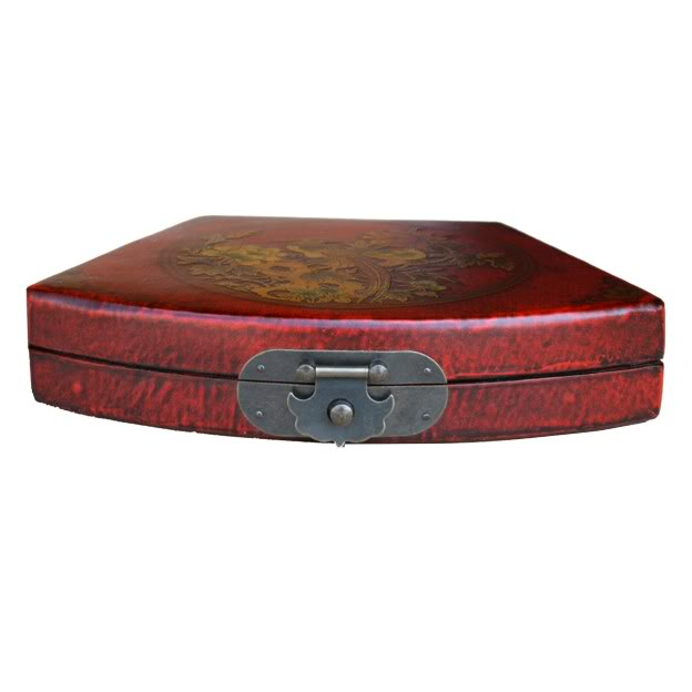 Red Fan Shape Leather Box - Front View