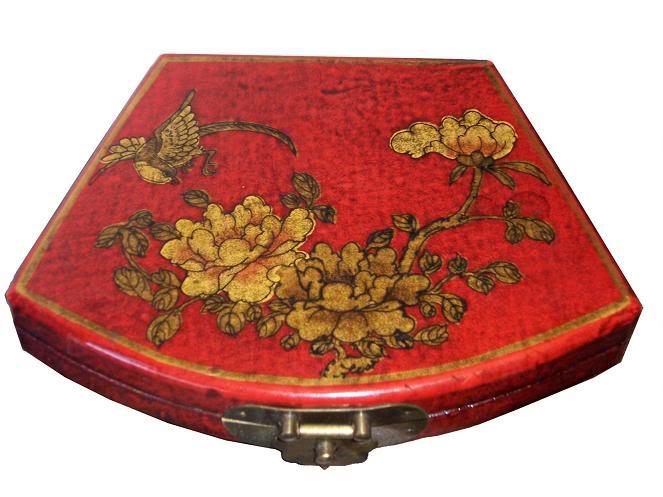 Red Fan Shape Leather Box - Angel View