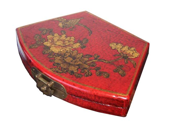 Red Fan Shape Leather Box - Angel View
