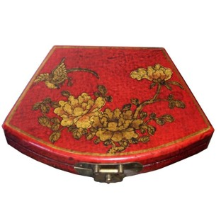 Red Painted Fan Shape Painted Box