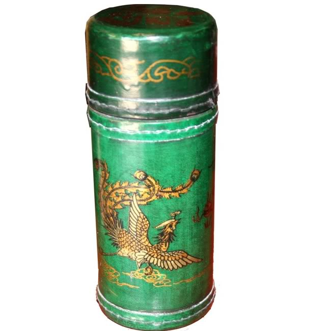 Fortune Sticks in Green Leather Barrel Box