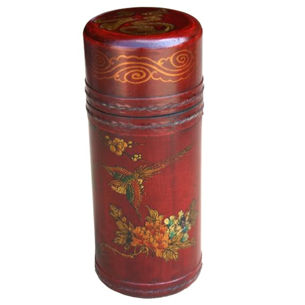 Fortune Sticks in Red Leather Barrel Box
