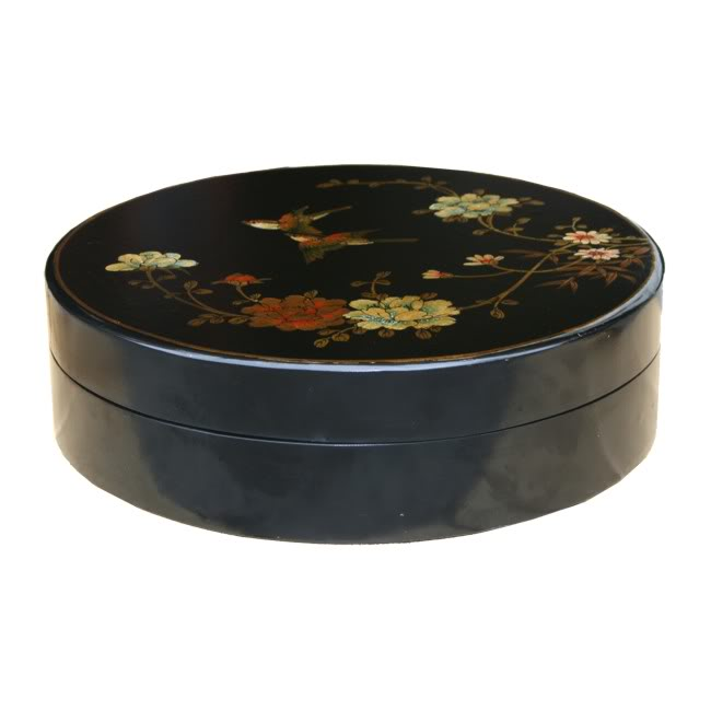 Large Round Black Leather Candy Box