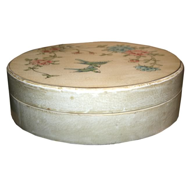 Large Round Creamy Leather Candy Box