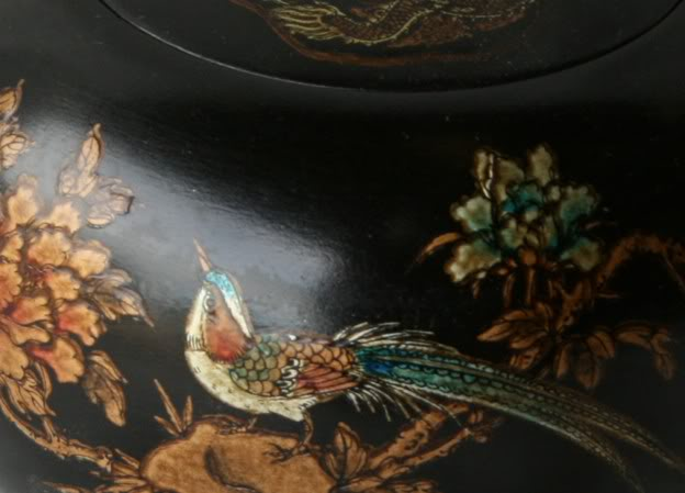 Black Hand Painted Leather Candy Box -Detail View