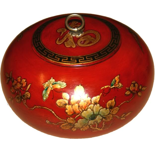 Red Hand Painted Leather Candy Box