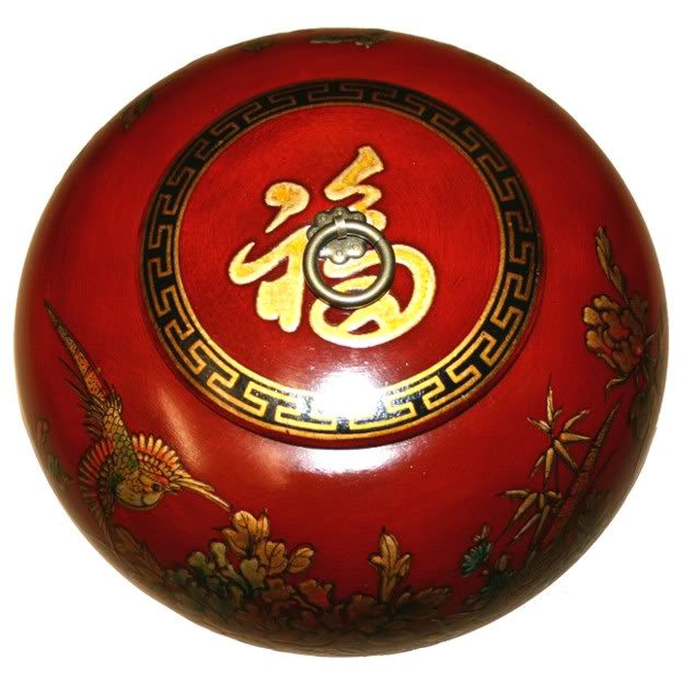 Red Hand Painted Leather Candy Box - Top