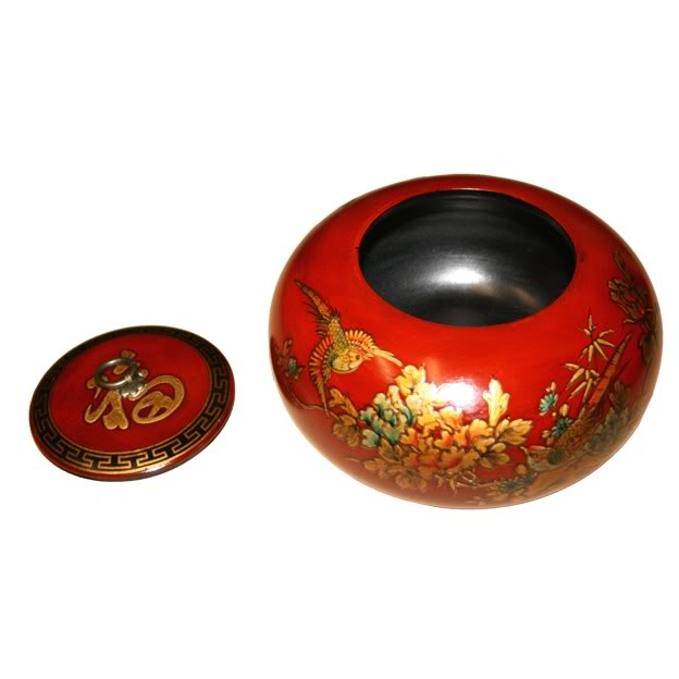 Red Hand Painted Leather Candy Box - Open View