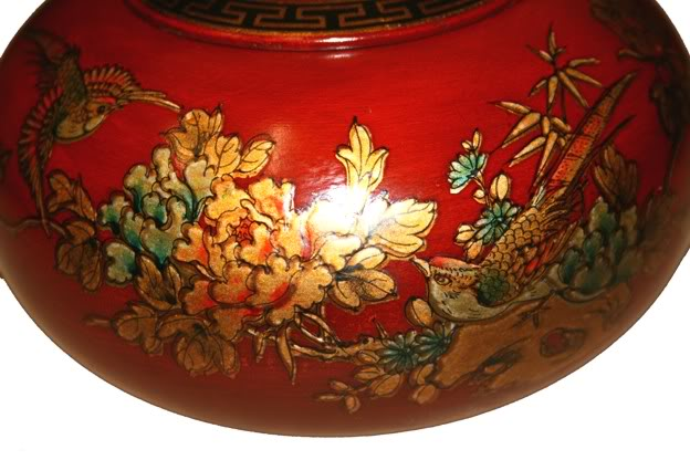 Red Hand Painted Leather Candy Box - Side Detail 2