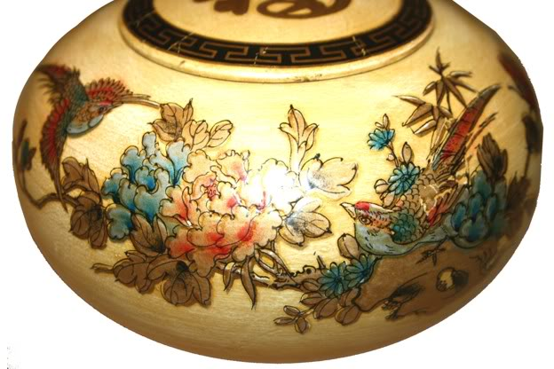 Creamy Hand Painted Leather Candy Box - Side Detail 1
