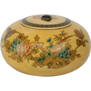 Creamy Hand Painted Round Wood Box
