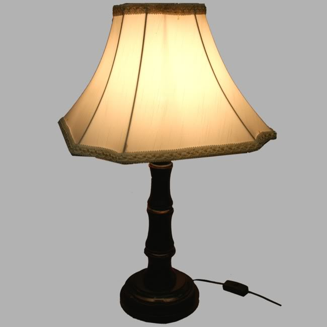Black Wooden Bamboo Style Base Lamp