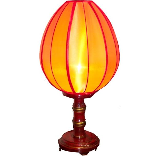 Red Bamboo Style Lamp with Lampshape