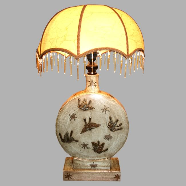 Creamy Leather Classical Chinese Round Base Lamp