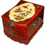 Curve Top One-Drawer Red Mirror Box - Flower & Bird