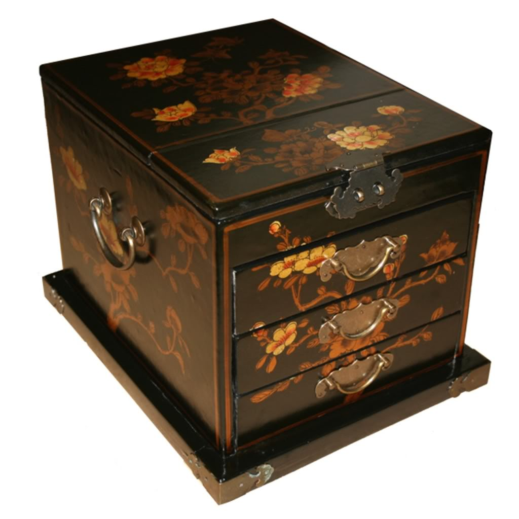 Chinese Black Jewellery Box with Mirror - Side View