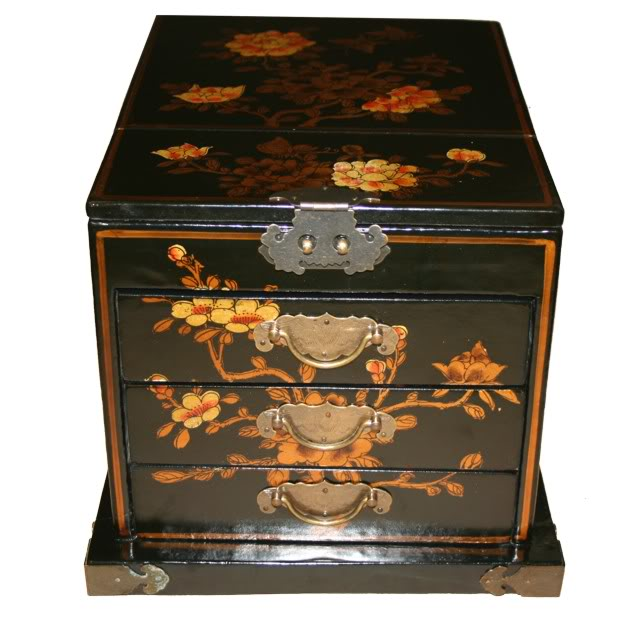 Chinese Black Jewellery Box with Mirror - Flower