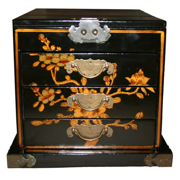 Chinese Black Jewellery Box with Mirror - Front View