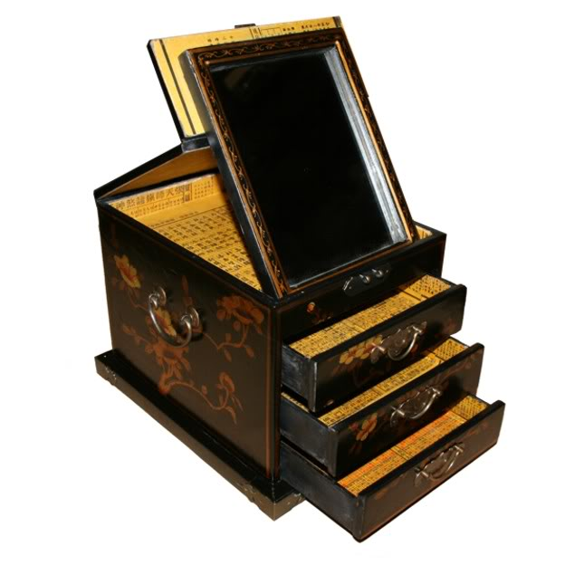 Chinese Black Jewellery Box with Mirror - Open