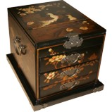 Large Black Jewellery Mirror Box - Peacock