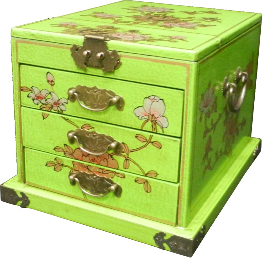 Green Jewellery Box with Mirror - Flower