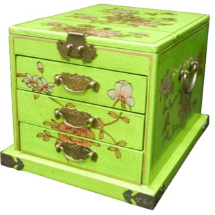 Large Green Jewellery Box with Stand-Up Mirror - Flower