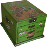Large Green Jewellery Mirror Box - Peacock