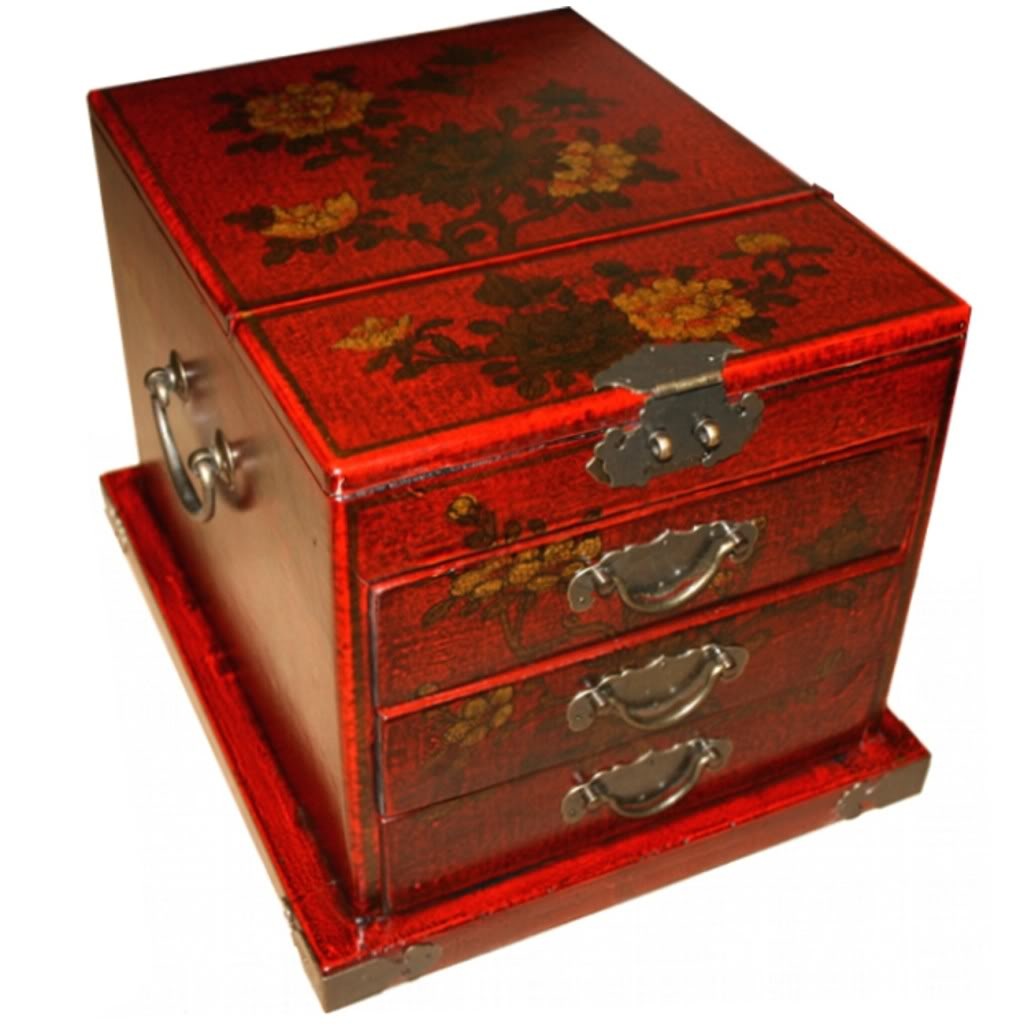 Red Luxury Jewellery Box with Fold Out Mirror - Flower - Detail