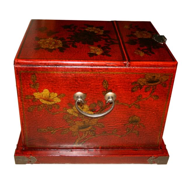 Red Luxury Jewellery Box with Fold Out Mirror - Flower -Side View