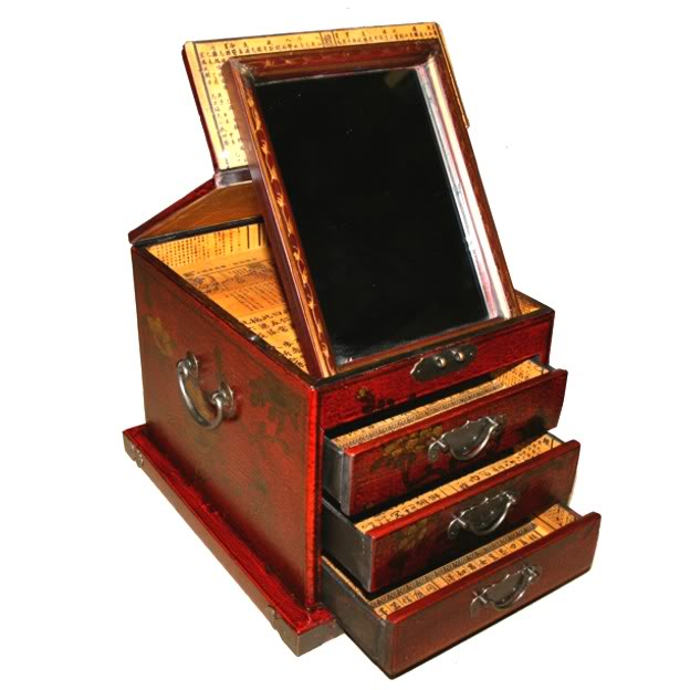 Red Luxury Jewellery Box with Fold Out Mirror - Flower - Open View