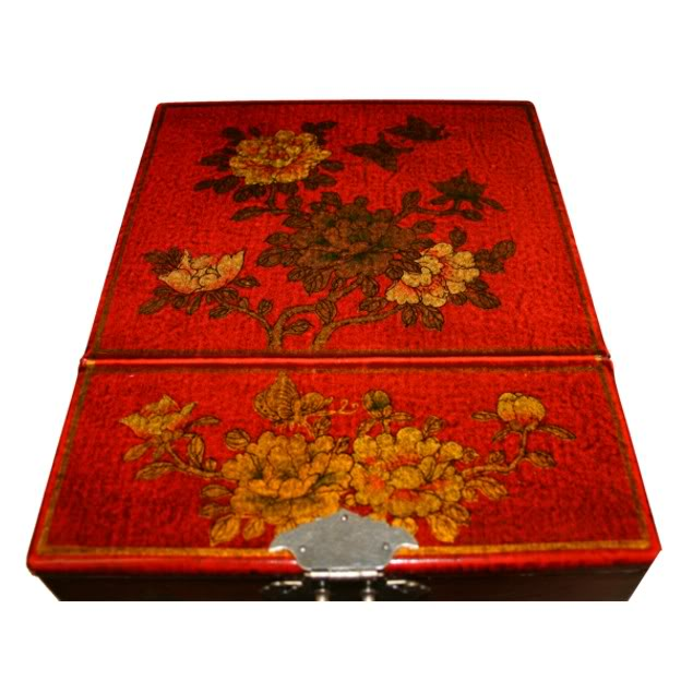 Red Luxury Jewellery Box with Fold Out Mirror - Flower - Top