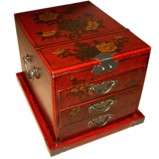 Large Red Jewellery Mirror Box - Flower