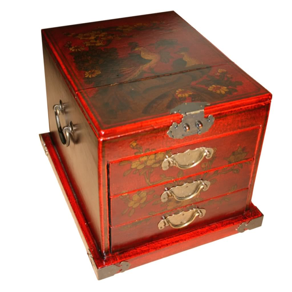 Red Luxury Jewellery Box with Fold Out Mirror - Peacock -Top Detail