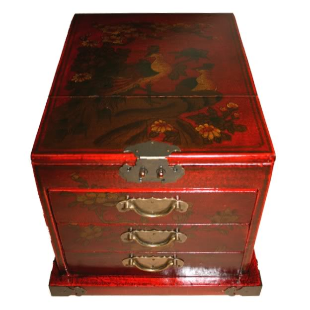 Red Luxury Jewellery Box with Fold Out Mirror - Peacock