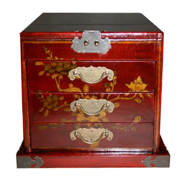 Red Luxury Jewellery Box with Fold Out Mirror - Peacock -Front View
