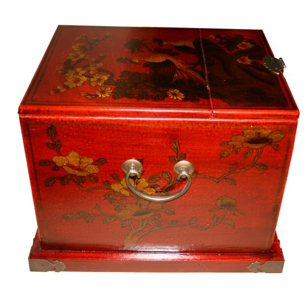 Red Luxury Jewellery Box with Fold Out Mirror - Peacock - Side View