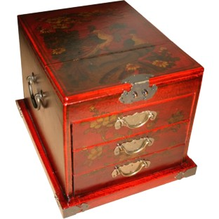 Large Red Jewellery Box with Stand-Up Mirror