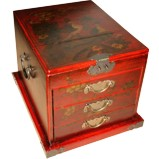 Large Red Jewellery Mirror Box - Peacock