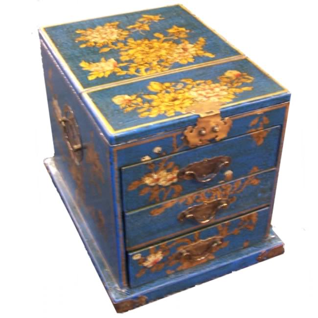 Blue Luxury Jewellery Box with Fold Out Mirror -Flower