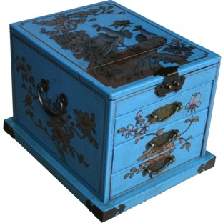 Light Blue Luxury Jewellery Box with Stand-Up Mirror