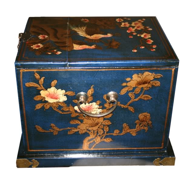 Blue Luxury Jewellery Box with Fold Out Mirror - Side View
